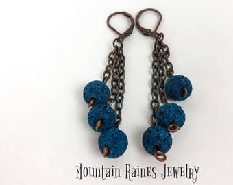 Blue Dyed Lava Earrings/ Diffuser Earrings/ Aromatherapy Jewelry