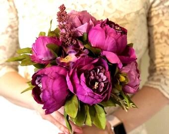 Silk Bride Bouquet Purple Peonies Natural Bouquet Shabby Chic Vintage Inspired Artificial Flowers Rustic Keepsake Bridesmaid Wedding