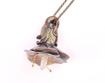 Flower necklace - quartz