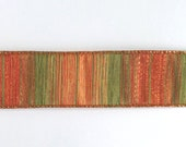 Wire Edged Stripes Ribbon, Autumn Leaves Ribbon, Floristry Ribbon, Luxury Gift Ribbon, Gift Wrapping, Ribbon for Bows, 1.5 Inch Wide Ribbon