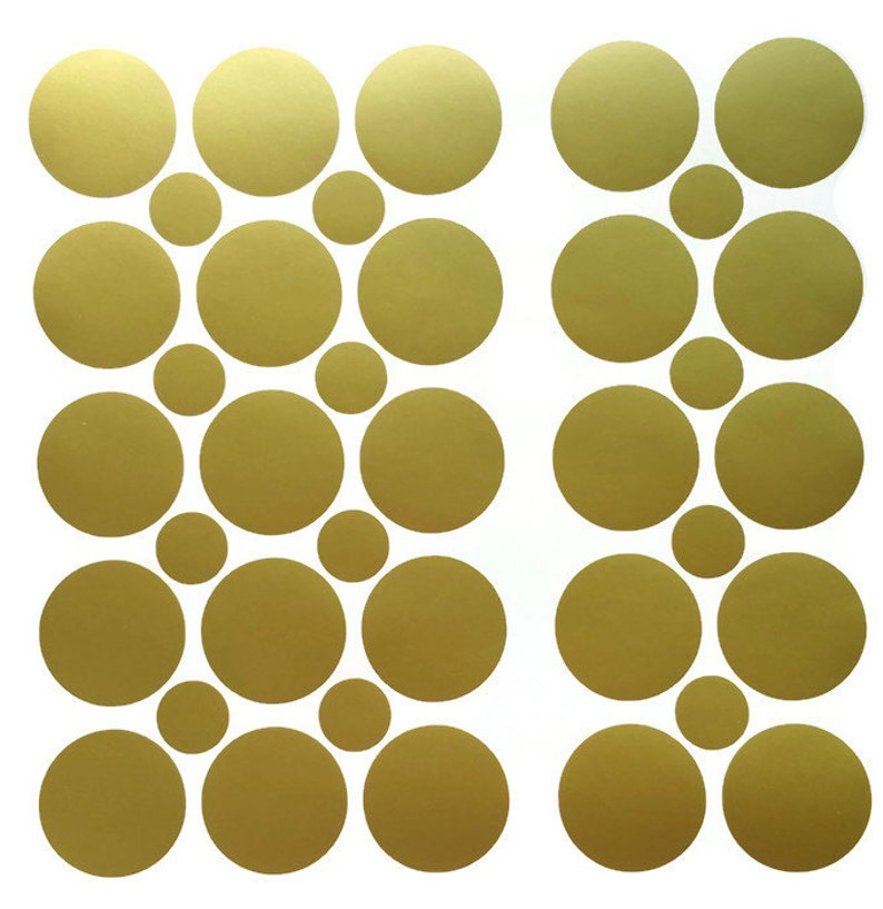 Circle Stickers with FREE stickers Polka Dot Wall Decals Metallic Removable Wallpaper 50 2 inch Removable Vinyl Gold Polka Dot Stickers