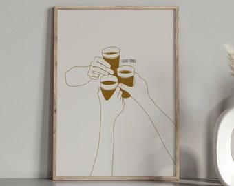 Beer Woman Single Line Art Print  Beer Lover Wall Art  Woman and Pinte of Beer Line Art