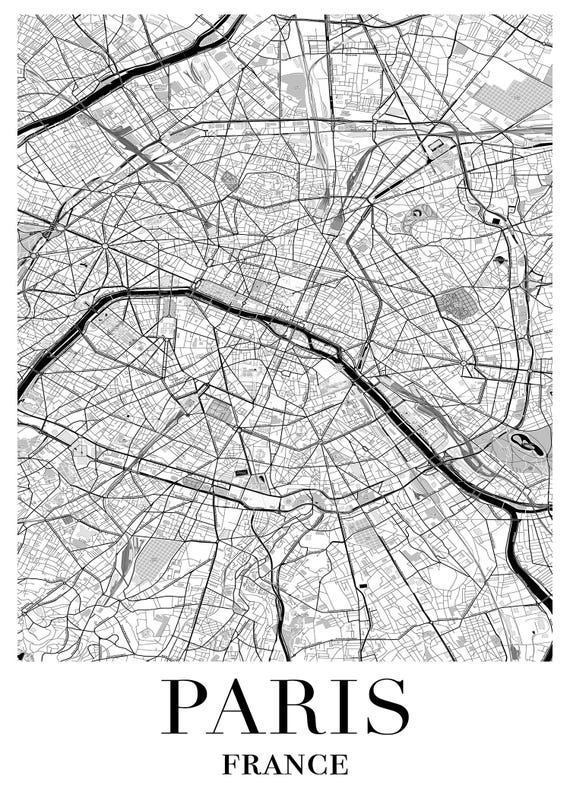 Paris Map Black And White.Paris Map Black White Print Eiffel Tower Print Paris Etsy