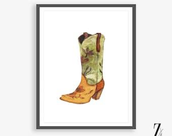Watercolour Cowboy Boots, Art Print, Instant Download, Western Print, Cowboy Art, Watercolor Print, Cowgirl Boots, Watercolor Art Prints