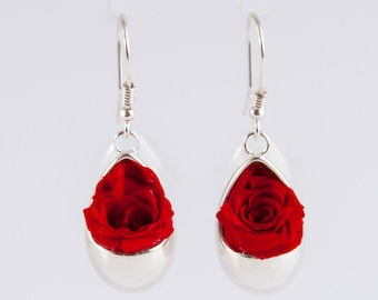 Drop shape earrings in 925 Silver with real roses