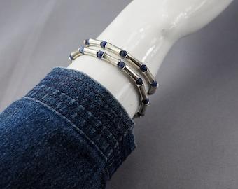 Silver bracelet, blue bracelet, jean bracelet, Indian silver tube bracelet, sodalite bracelet, unisex bracelet, stretchy bracelet,