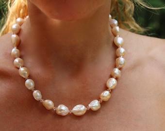 Pink pearl necklace, peach pink pearl bridal set, pink pearl choker, peach pearl necklace, peach pearl choker, pearl wedding set