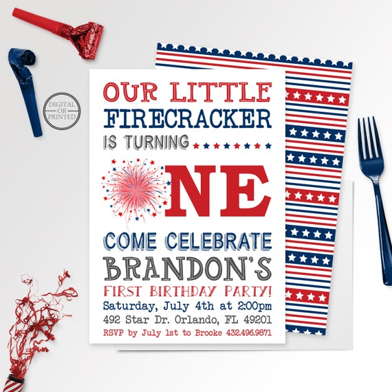 Our Little Firecracker Birthday Invitation