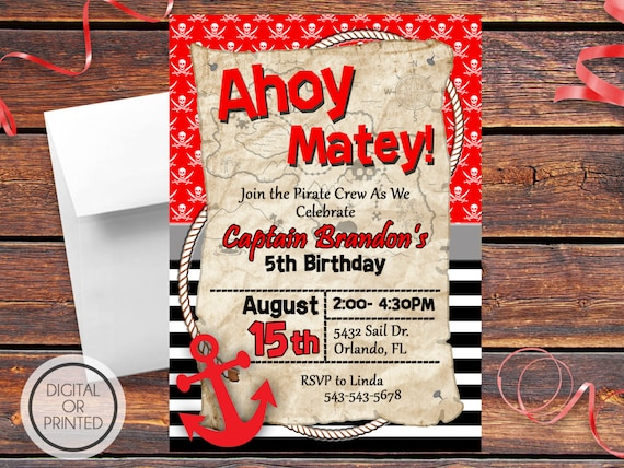 Pirate Birthday Invitations Pirate Party Invites Pirate Themed
