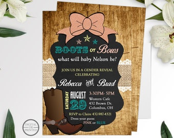 Boots or Bows Gender Reveal Invitations, Gender Reveal Party Invitations, Baby Reveal Invitations, Gender Reveal Party Invites, Pink or Blue