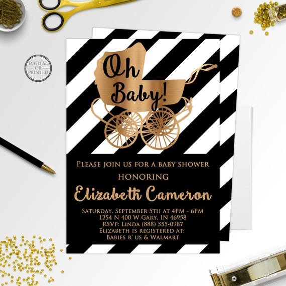 Black And White Baby Shower Invitations Black And Gold Baby Shower