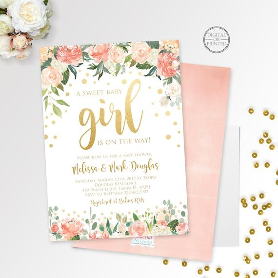 Gold confetti baby shower invitation girl baby shower etsy image 0 filmwisefo