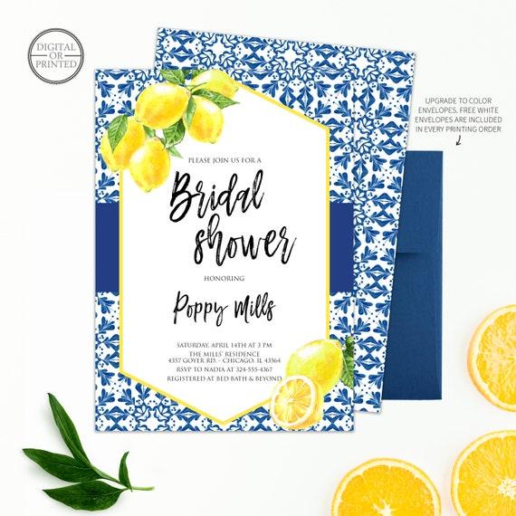 Citrus Fruit Editable Corjl Template 128 Tuscan Tile Lemon Couples Shower Invite Blue Tile Mediterranean Baby Shower Invitation Summer