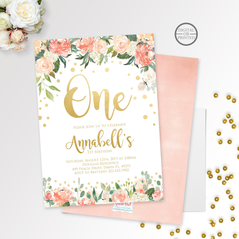 Floral Invitation Gold Confetti Invitation Girl Birthday | Etsy