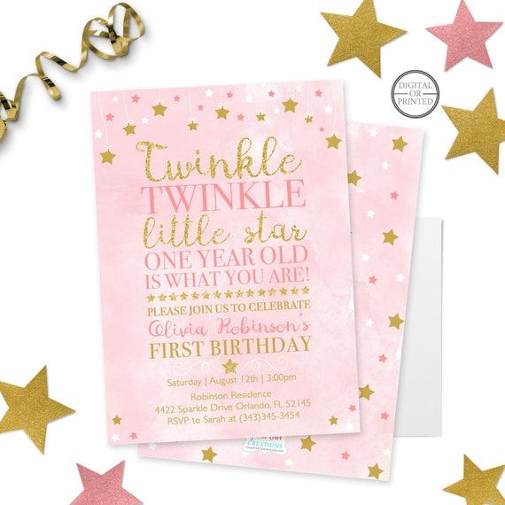 Twinkle Little Star First Birthday Invitation