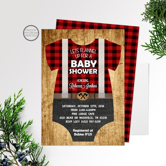photo about Printable Onesie Baby Shower Invitations titled Lumberjack Child Shower Invitation Buffalo Plaid Rustic