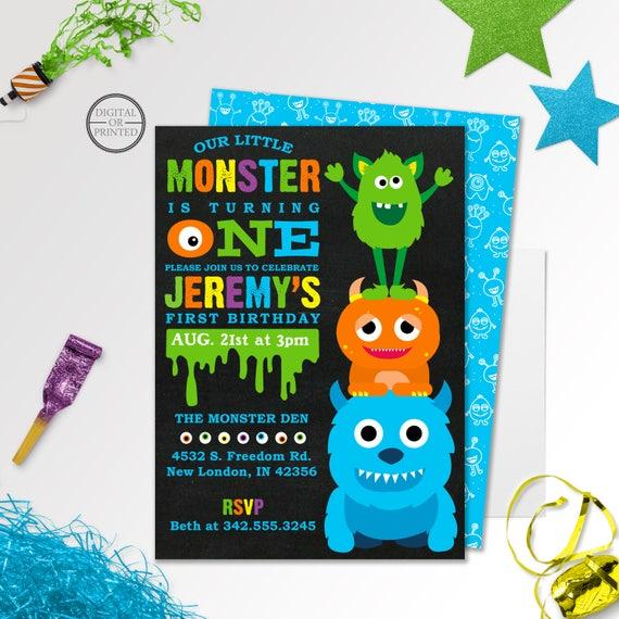 Monster Birthday Invitation Little Monster Party Invitations Etsy