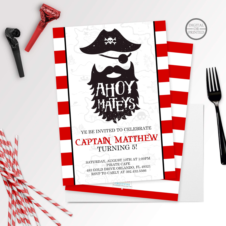 Pirate Invitation Pirate Birthday Invitation Pirate Party | Etsy