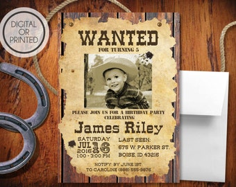 Western Birthday Invitation | Rustic Birthday Invitation | Boys Birthday Invite | Cowboy Birthday Invite | Western Photo | Wanted Poster
