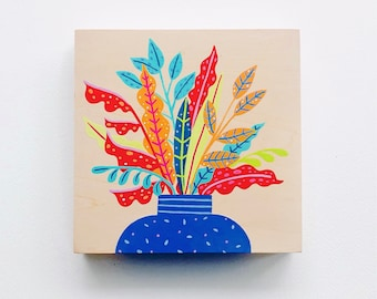 Plant gouache painting on wood (one of a kind)