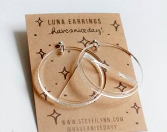 LUNA - Clear Hoop Earrings