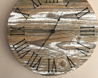"""Authentic Vintage Chippy Paint Barnwood Clock - 16"""" Samples - custom made on order"""