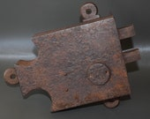French Antique Handcrafted 18th 19th Century Chateau Wrought Iron Door Lock with Two Bolt and Key in Working Order