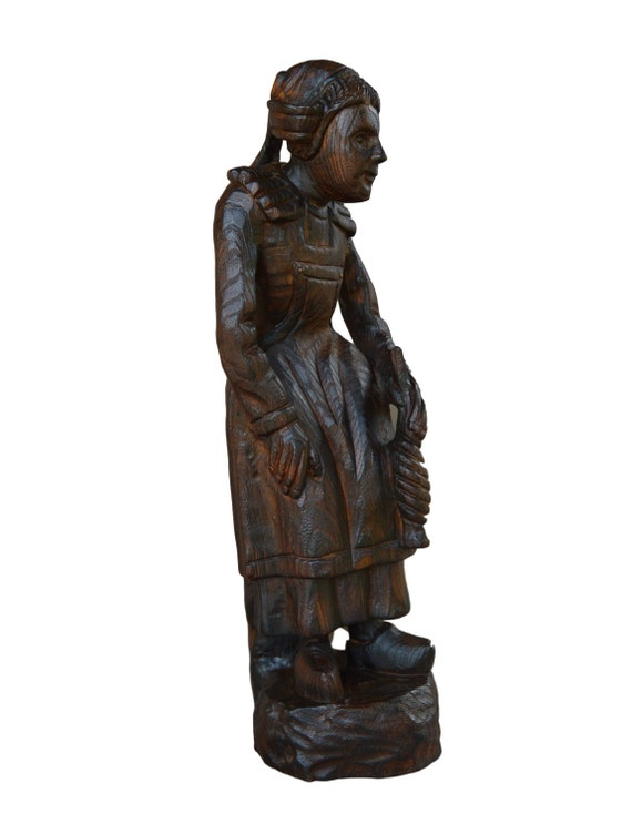 Woodenware Supply Old Antique Folk Art Carved Wood Statue Carving Statue,