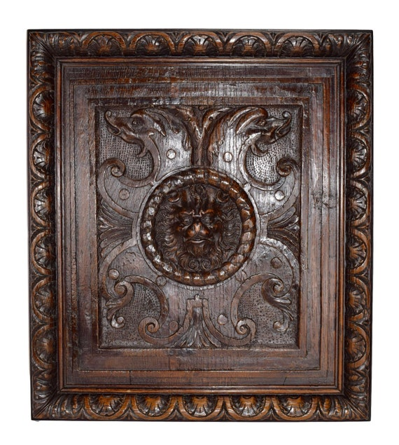 Wood Carved Wall Decoration panel with Lion Head