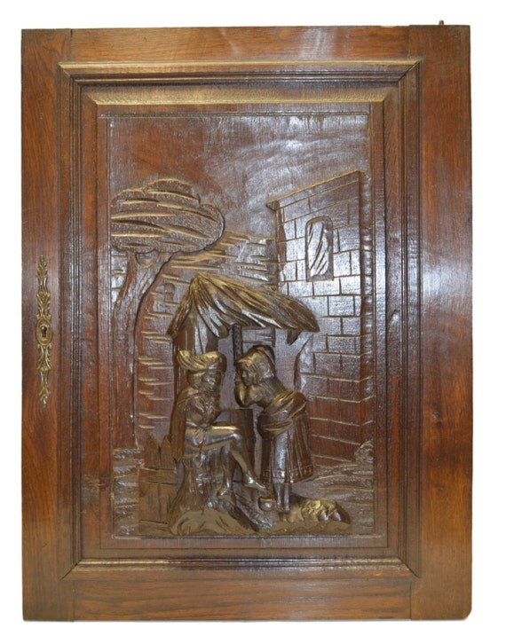 Hand French Carved Antique Cabinet Door Medieval Romantic Etsy