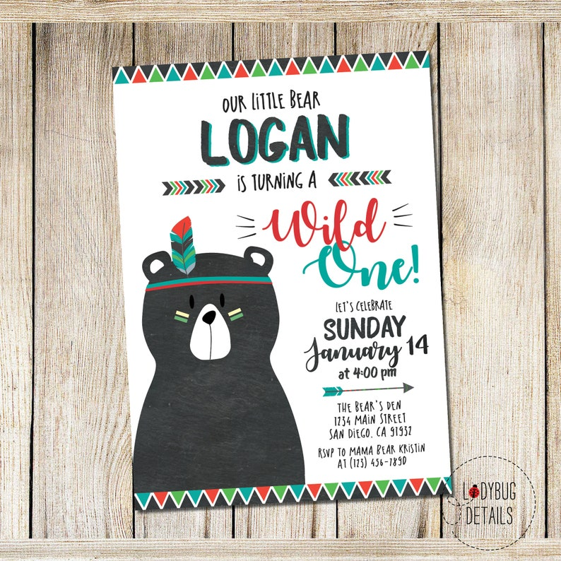 Wild One Birthday Invitation Boy Printable