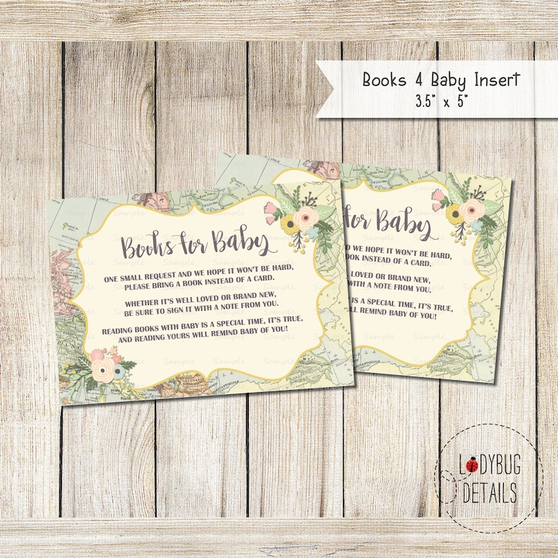 Adventure Awaits Baby Shower Books for Baby Travel Theme Books for Baby Printable Books for Baby insert Map Baby Shower Books for Baby
