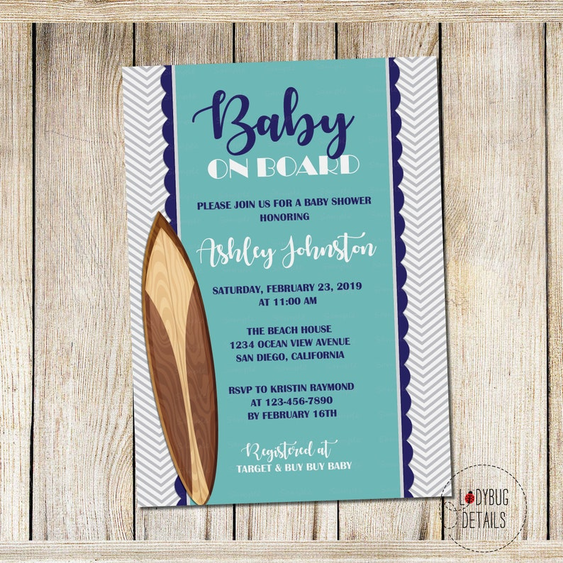 Retro Surf Baby Shower Invitation Surfboard Digital Printable Surfer Invite Board