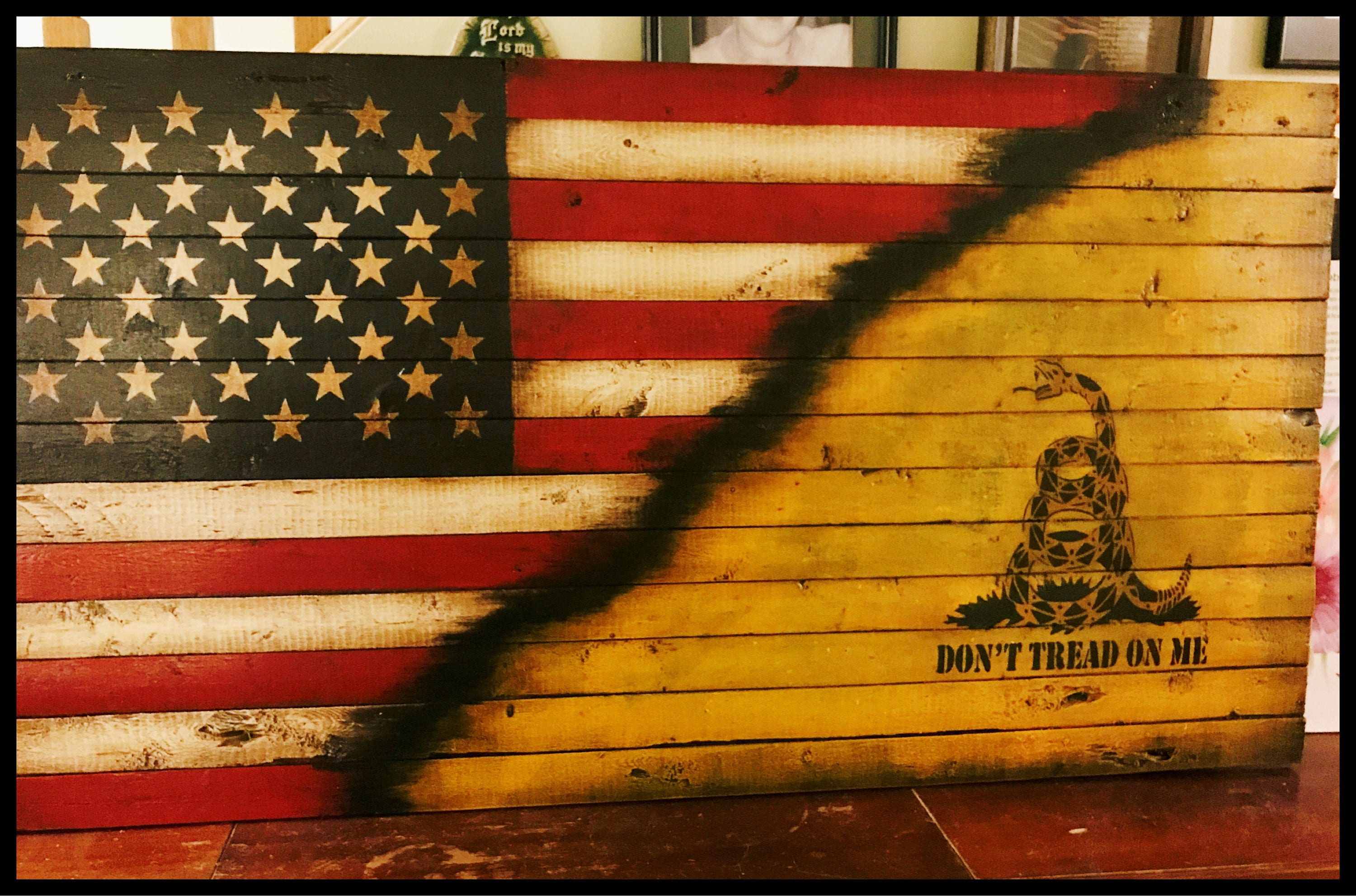 Dont Tread On Me Gadsden Flag American Revolution Rustic Wood Wall Old