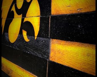 OFFICIALLY LICENSED Iowa Hawkeyes, Hawkeyes Alumni Sign, Wood Hawkeye Sign, Wood Flag,University of Iowa Sign, Iowa Hawkeye Flag