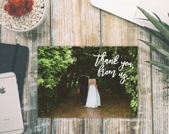 "Custom Wedding Photo Thank You Cards BLANK INSIDE (Set of 50) 5.5"" x 4"""