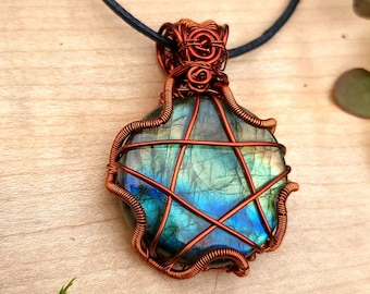 Labradorite Pentacle Pendant ~ Spectrolite Pentagram Necklace ~ One of a Kind Wire Wrapped Witchy Jewelery ~ Magic, Protection, Intuition