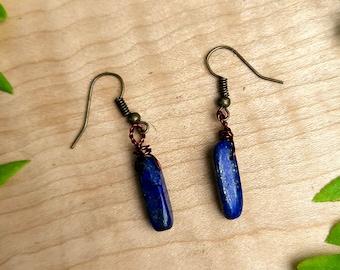 Simple Lapis Lazuli Dangling Earrings ~ September Birthstone ~ Truth, Honesty, Creativity, Communication, Self-expression