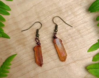 Champagne Aura Quartz Point Dangle Earrings ~ Cleansing, Purifying, Protection, Amplifying