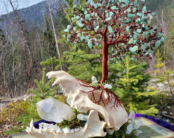 3D Crystal Tree of Life ~ Genuine Coyote Skull and Quartz Crystal Base ~ One of a Kind Tree Sculpture with Emerald, Garnet and Aventurine