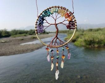Large Handmade Rainbow Chakra Tree of Life ~ Rainbow tree Suncatcher / Dreamcatcher