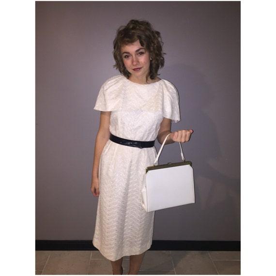 1950's White Eyelet Dress, Vintage Wedding Dress