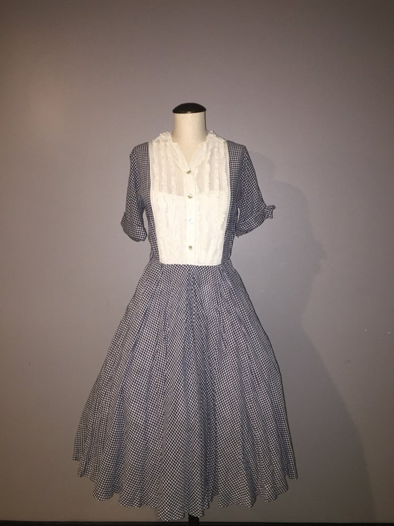1950's VTG gingham full skirt dress