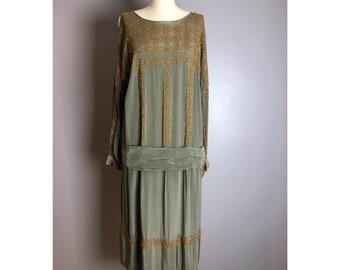 1920's Vintage Taupe silk beaded dress