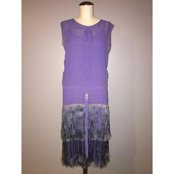 1920's Authentic Vintage Flapper Dress, Violet Fri