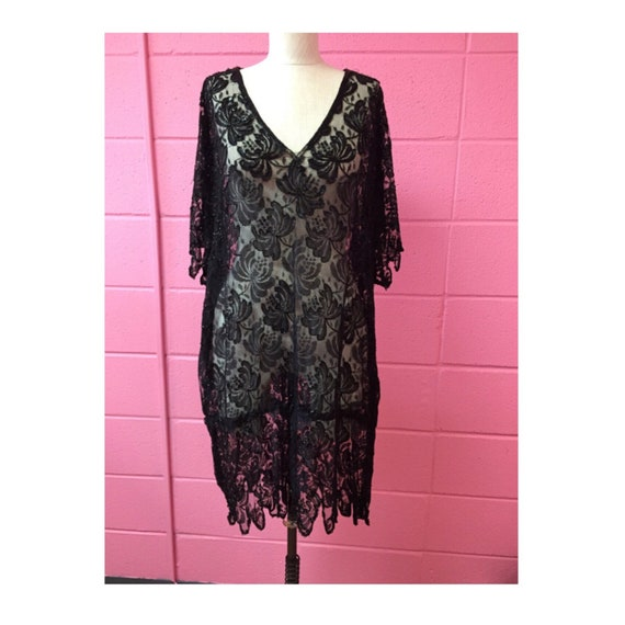 1920's sheer black lace dress