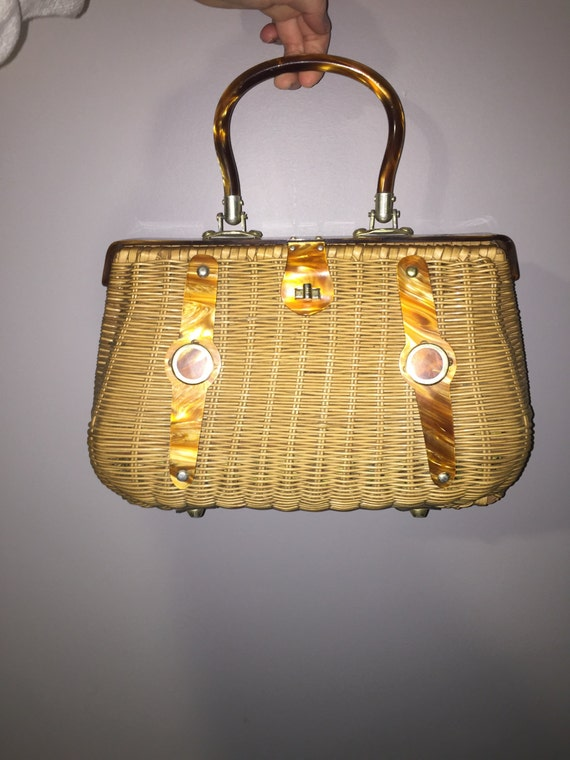 1960's Wicker and tortoise shell lucite purse