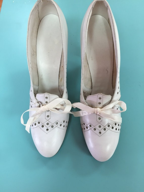 1930's white cutout lace up heels