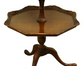 1960 39 s Solid Mahogany Traditional Style 25 quot Tiered Pie Crust Accent Table Dumbwaiter