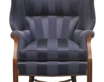 TRS FURNITURE Blue Striped High Bow Back Wing Chair